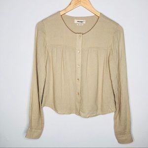 Aritzia TNA beige wool blend button down blouse